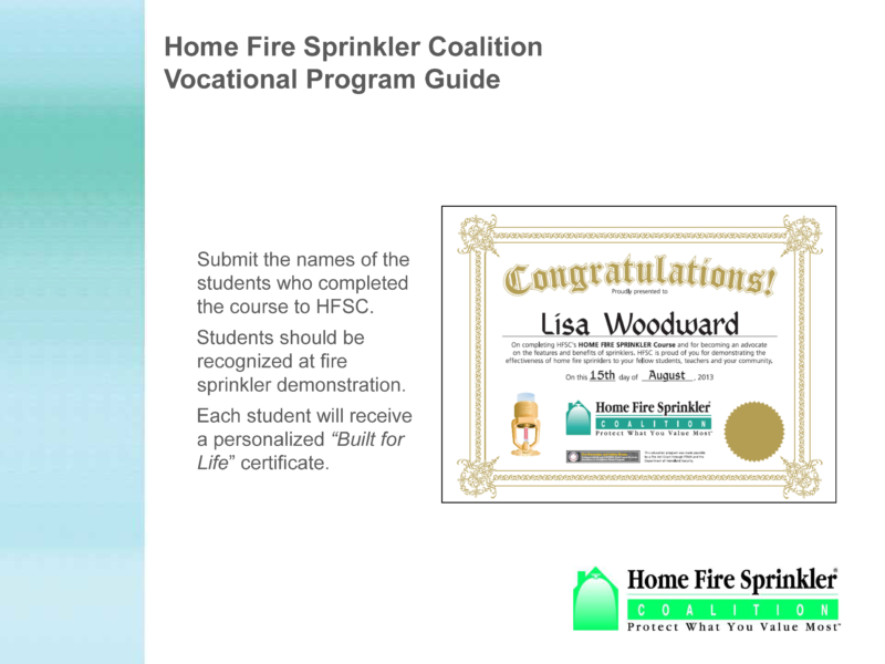Home Fire Sprinkler Coalition Vocational Student Program